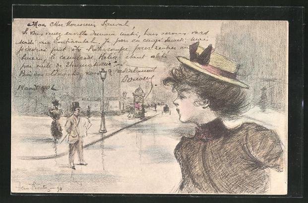 Künstler-AK Henri Boutet: junge Frau mit Hut läuft durch die Strassen
