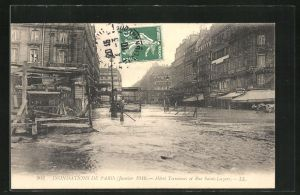 AK Paris, Inondations Janvier 1910, Hotel Terminus et Rue Saint-Lazare