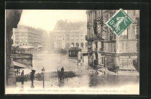 AK Paris, Inondations Janvier 1910, Gare Saint-Lazare et Place de Rome