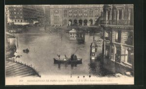 AK Paris, Inondations Janvier 1910, A la Gare Saint-Lazare, Hochwasser