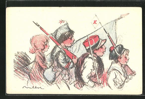 Künstler-AK Francisque Poulbot: Kinder-Soldaten ziehen in den Krieg, Kinder Kriegspropaganda