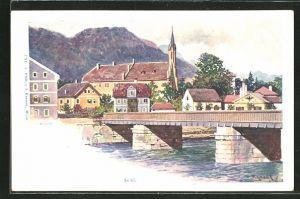 Künstler-AK Franz Kopallik: Bad Ischl, Totalansicht mit Gebirge im Hintergrund