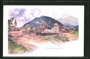 Künstler-AK Franz Kopallik: St. Leonhard-Drachenloch, Teilansicht mit Blick zur Kirche
