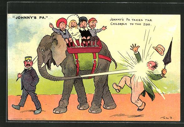 Künstler-AK Tom Browne: Johnny's Pa, Kinder reiten auf einem Elefanten der einen Mann nass spritzt