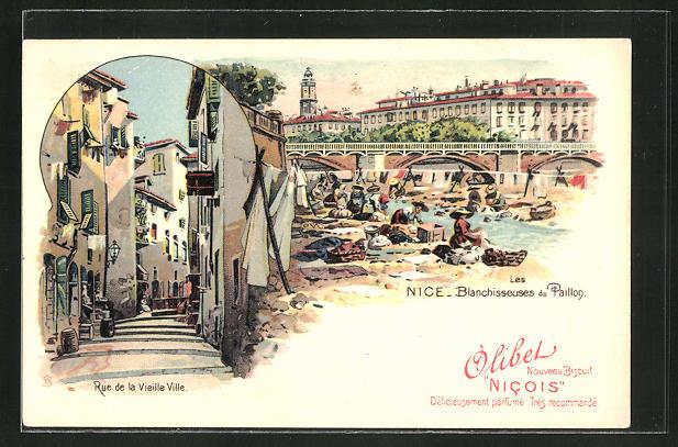 AK Nice, Les Blanchisseuses du Paillon mit Waschfrauen, Rue de la Vieille Ville