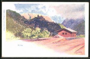 Künstler-AK Franz Kopallik: Werfen, Partie an der Berghütte