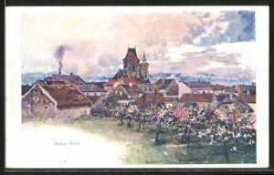 Künstler-AK Franz Kopallik: Böhm-Brod, Totalansicht über die Dächer