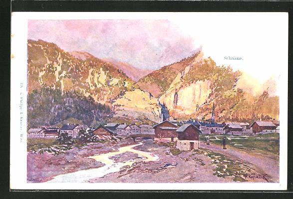 Künstler-AK Franz Kopallik: Schnann, Totalansicht mit Gebirge