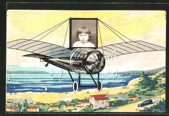 Foto-Collage-AK Knabe in einem Flugzeug über einem Dorf 0