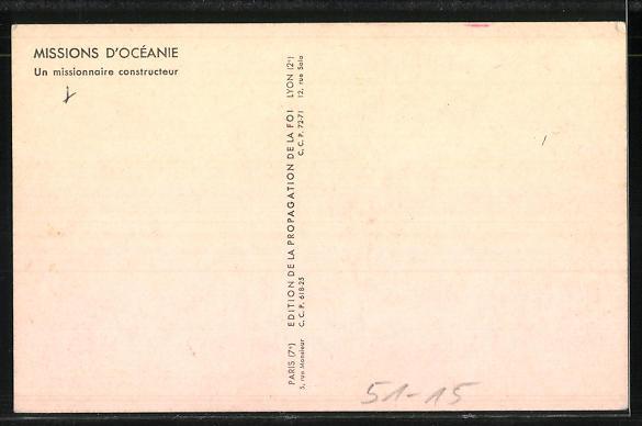 AK Missions d'Océanie, Un missionnaire constructeur, Einheimische Burschen tragen einen Baumstamm 1