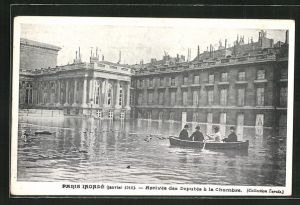 AK Paris, Inondé, Janvier 1910, Arrivée des Deputés à la Chambre, Hochwasser
