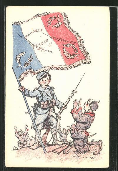 Künstler-AK Francisque Poulbot: Deutscher Soldatenjunge ergibt sich vor Franzosen mit Flagge