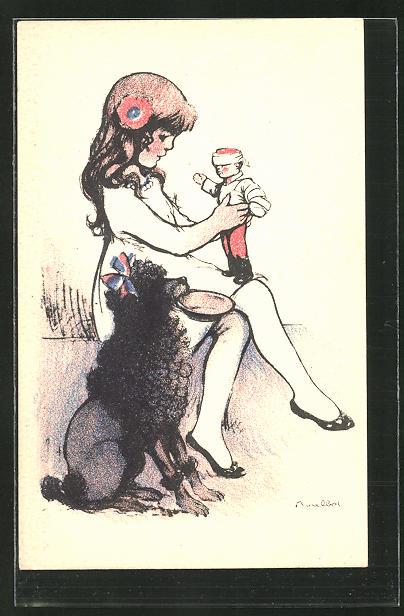 Künstler-AK Francisque Poulbot: Pudel mit Haarschleife sitzt neben Mädchen mit Puppe