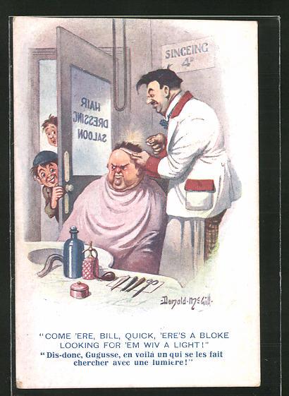 Künstler-AK Donald McGill: wütender korpulenter Mann beim Friseur