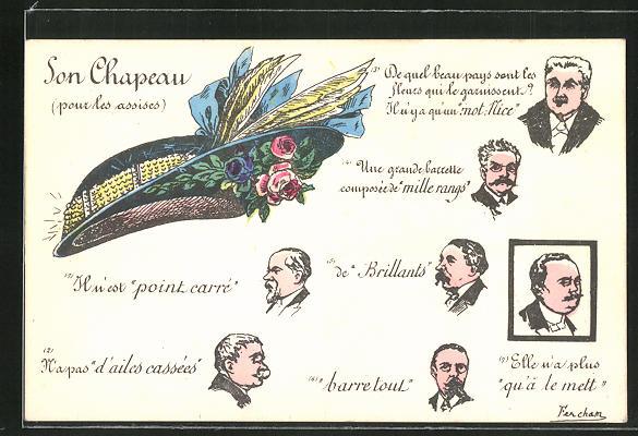 Künstler-AK sign. Fercham: Son Chapeau pour les assises, bunter Hut mit Blumen