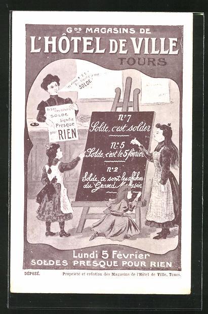 AK Tours, L'Hotel de Ville, Mädchen an einer Schultafel