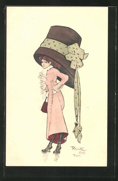 Künstler-AK sign. Reinitz: Elegante Dame mit riesigem Hut