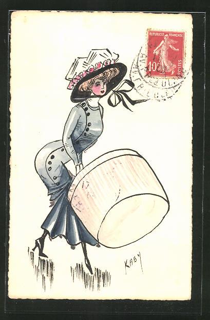Künstler-AK sign. Kaby: Elegante Dame mit riesiger Hutschachtel