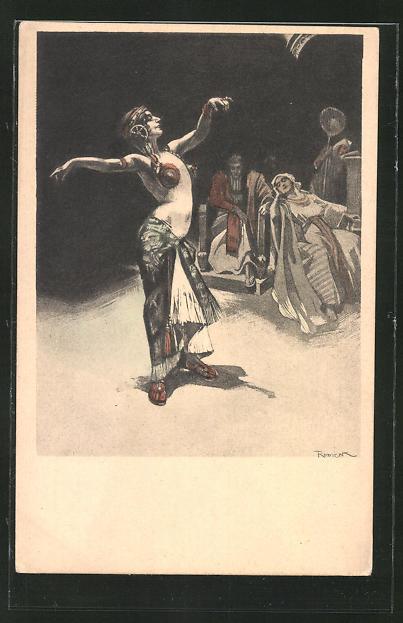 Künstler-AK Ferdinand von Reznicek, Simplicissimus: Darbietung einer orientalischen Tänzerin