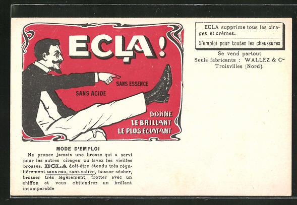 AK Reklame für Schuhwixe Ecla