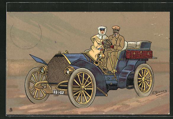 Künstler-AK sign.: T. Bianco, elitäres Paar fährt im offenen Auto