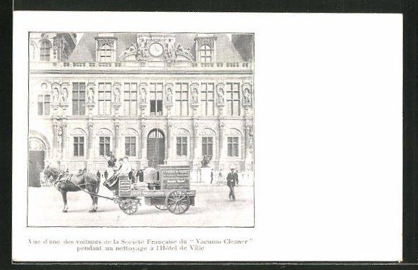 AK Paris, Societe Francaise du Vacuum Cleaner, Pferdefuhrwerk mit Staubsauger vor dem Rathaus