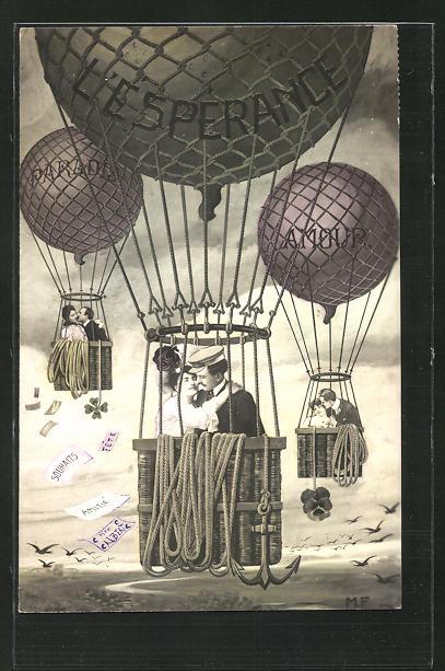 AK L'Esperance, Verliebte Pärchen fliegen im Ballon