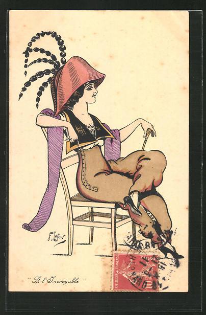 Künstler-AK sign. F. Lafon: Junge Frau sitzt lässig auf einem Stuhl