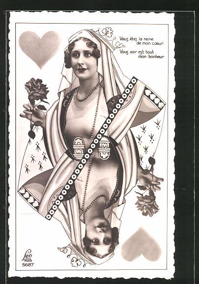 AK Portrait einer jungen Frau als Dame aus einem Kartenspiel