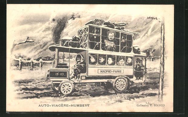 Künstler-AK sign. T. Bianco: Affaire Humbert, Auto-Viagere-Humbert, Bus