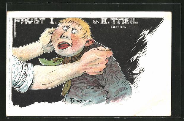 Künstler-AK F. Gareis: jungen Mann werden die Ohren langezogen