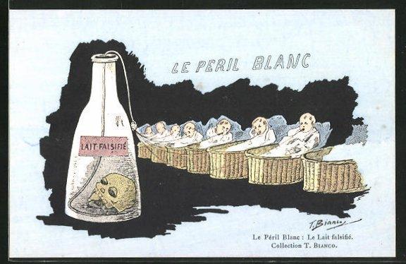 Künstler-AK sign. Bianco: Le Peril Blanc, Lait Falsifie, Babys trinken Milch