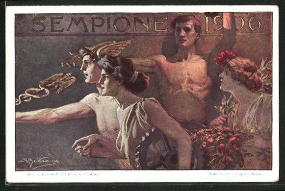 Künstler-AK sign. A. Beltrame: Sempione 1906, Ausstellung, Ganzsache