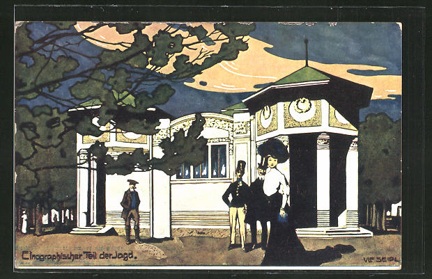Künstler-AK Ulf Seidl: Wien, Internationale Jagd-Ausstellung 1910, Einographischer Teil der Jagd