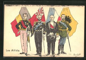 AK Propaganda Entente, Nikolaus II. mit Staatsoberhäuptern und Fahne
