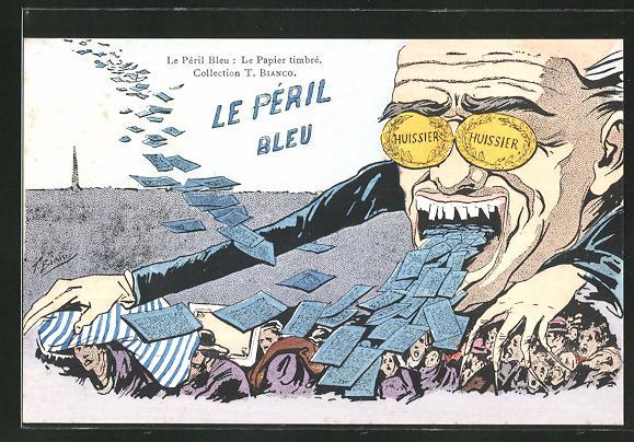 Künstler-AK sign. T. Bianco: Le Peril Bleu: Le Papier timbre, Mann spuckt blaues Papier, begräbt Menschen damit