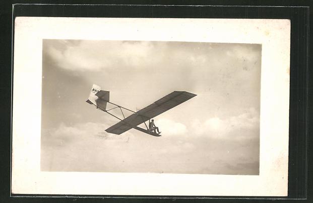 Foto-AK Planeur-Ecole Avia Type 10 A en Vol., Segelflugzeug im Flug mit Pilot