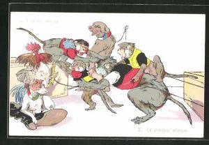 AK Il primo attaco, Le premier attaque, vermenschlichte Affen greifen andere Affen an, Hund, Hahn