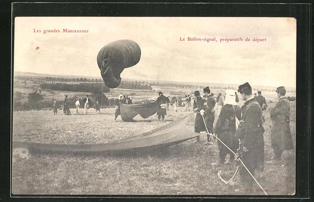 AK Le Ballon-signal, préparatifs de départ, französischer Ballon