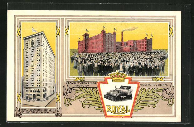 AK Hartford, CT, Royal Typewriter Factory, Royal Schreibmaschinenfabrik