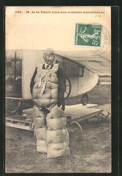 AK Flugzeug-Pilot M. de la Vaulx in Schutzkleidung