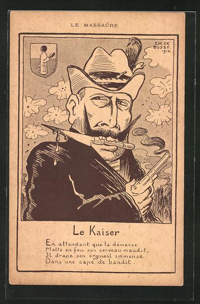 Künstler-AK sign. C. de Bussy: Le Massacre, Karikatur von Kaiser Wilhelm II.