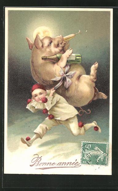 Präge-AK Harlekin mit Schwein auf dem Rücken, Neujahrsgruss