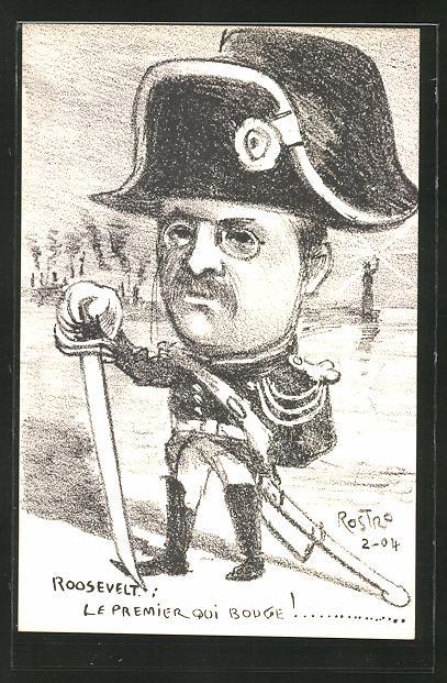 Künstler-AK Rostro: Präsident der USA Roosevelt, Karikatur