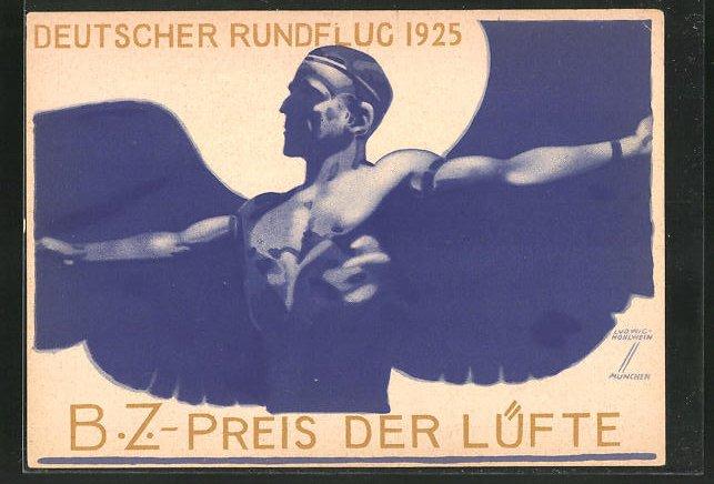 Künstler-AK Ludwig Hohlwein: BZ Preis der Lüfte, Deutscher Rundflug 1923