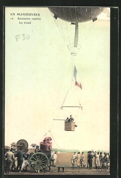 AK Ascension captive, le treuil, französischer Ballon beim Start