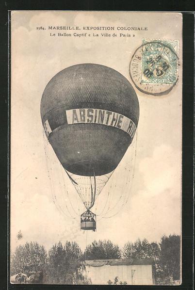 AK Marseille, Exposition Coloniale, Le Ballon Captif