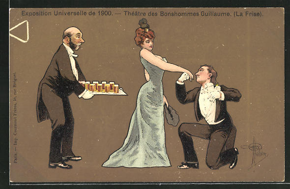 Künstler-AK Albert Guillaume: Paris, Exposition universelle de 1900, Theatre des Bonhommes Guillaume (La Frise)