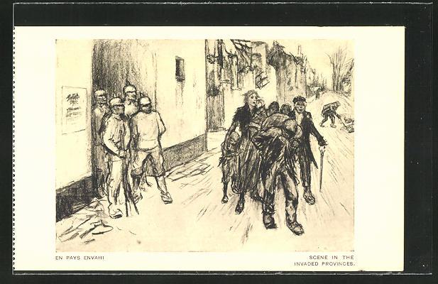 Künstler-AK Louis Raemaekers: Scene in the invaded Provinces, en Pays Envahi