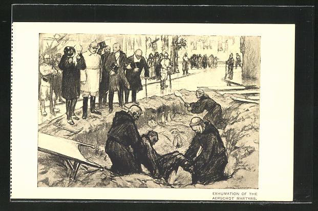 Künstler-AK Louis Raemaekers: Exhumation of the Aerschot Martyrs